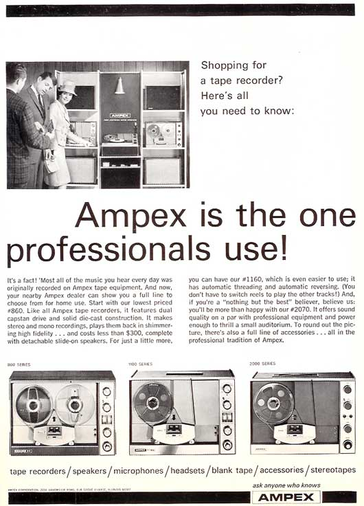 1966 Ampex 860 and 2000 tape recorder ad in Reel2ReelTexas.com's vintage recording collection
