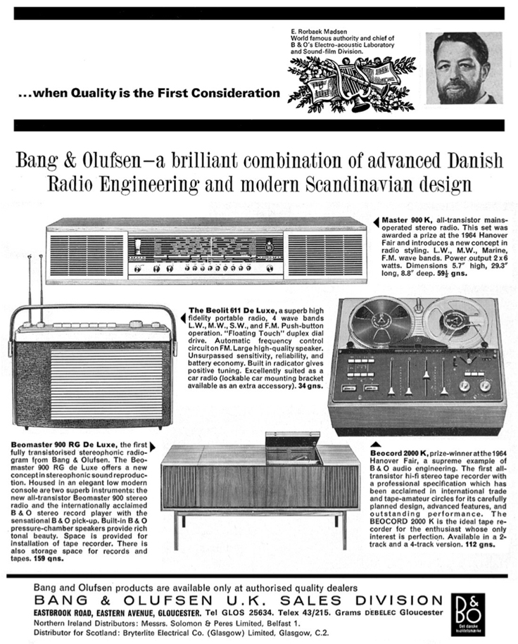 1965 Bang & Olufsen B&) 2000K reel to reel tape recorder ad in Reel2ReelTexas.com's vintage recording collection
