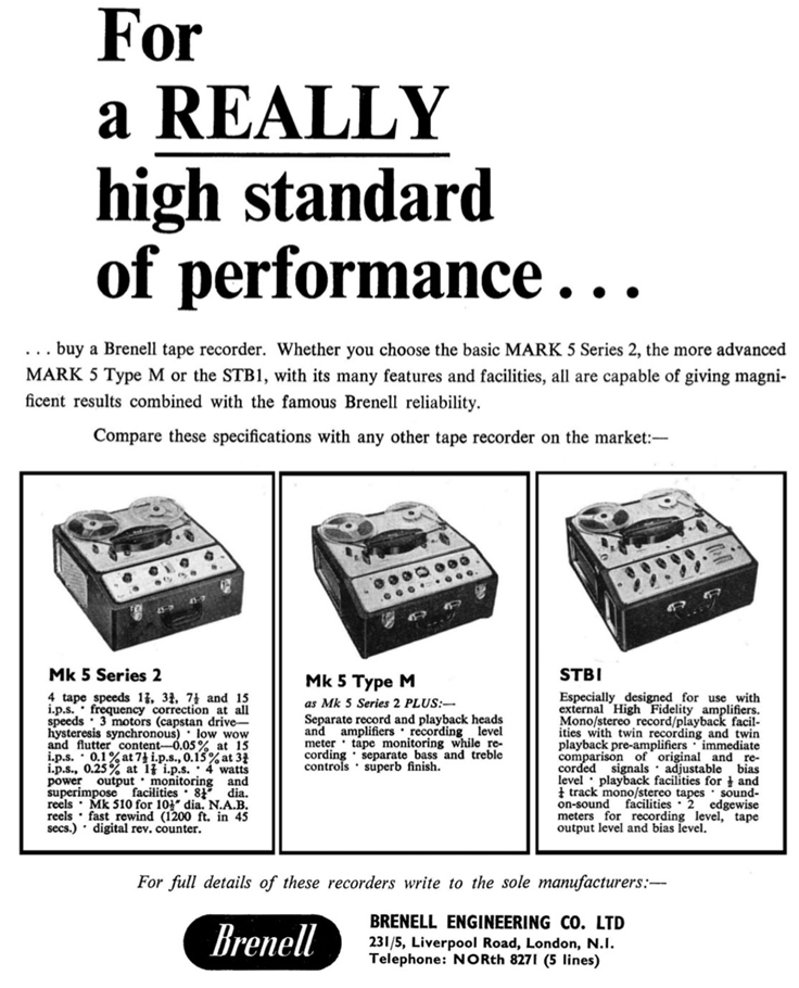 1965 Brunell reel to reel tape recorder ad in Reel2ReelTexas.com's vintage recording collection