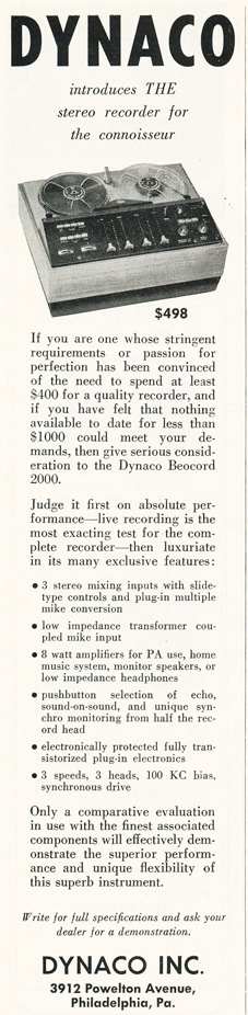 1965 ad for Dynaco reel to reel tape recorders in Reel2ReelTexas.com's vintage recording collection