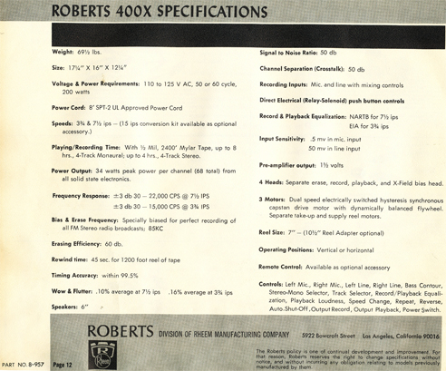 1965 manual for the roberts 400X reel tape recorder in Phantom Productions' reel tape recorder collection