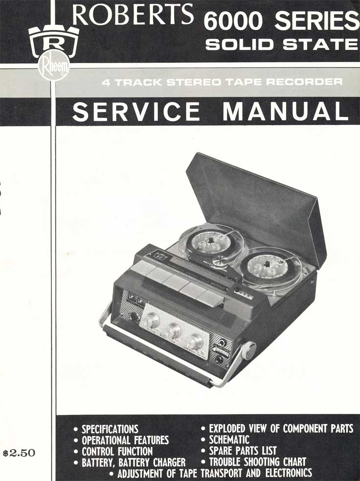 Manual cover for the Roberts 6000 reel tape recorder in Reel2ReelTexas.com's vintage recording collection