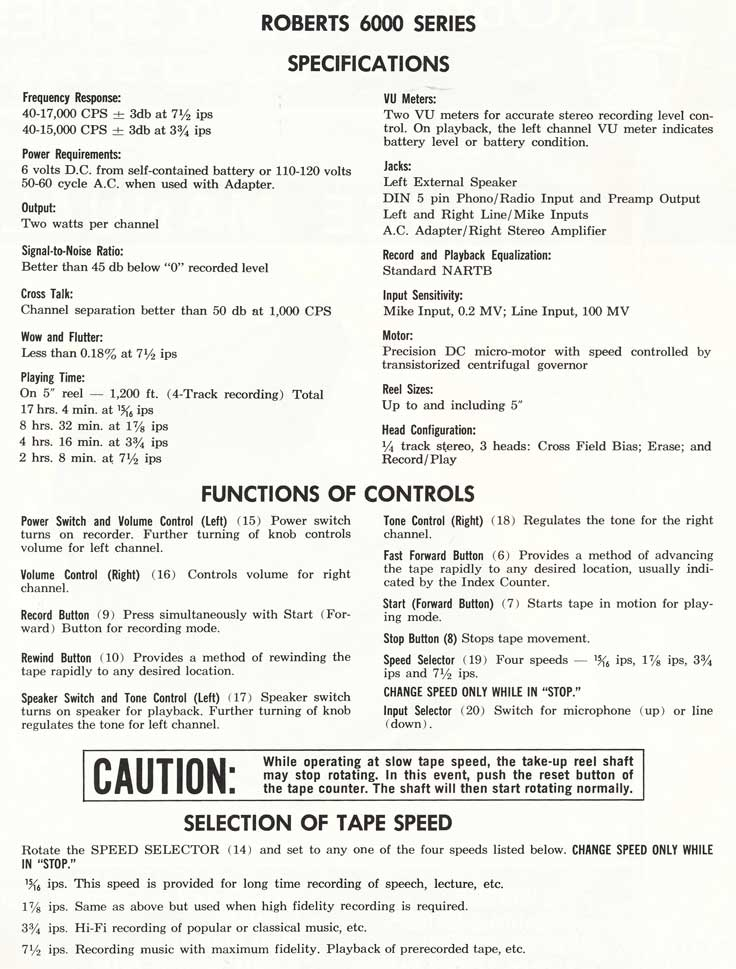 1965 Specifications for the Roberts 6000 reel tape recorder in Reel2ReelTexas.com's vintage recording collection