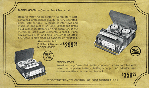 1965 ad for Roberts 6000 in Phantom Productions vintage tape recorder collection