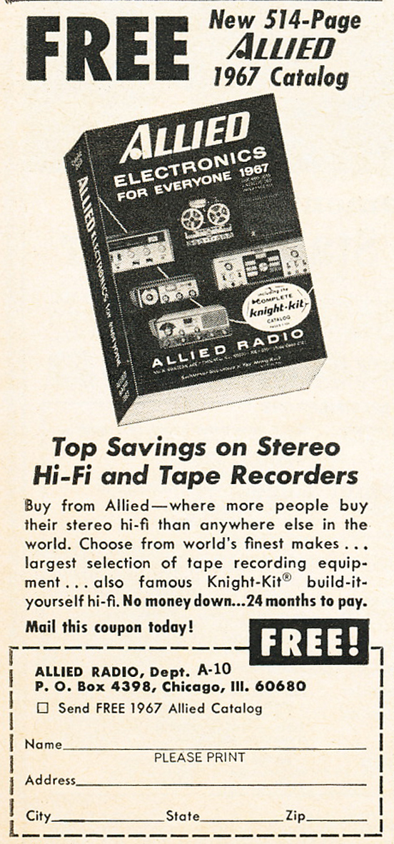 1966 ad for the Allied Radio catalog in Phantom Productions' vintage reel recorder collection