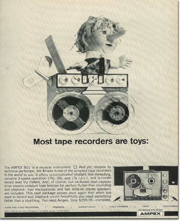picture of 1966 Ampex tape recorder ad