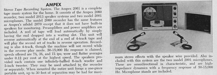 1966 review of the  Ampex 2061 tape recorders in Phantom Productions' vintage reel recorder collection