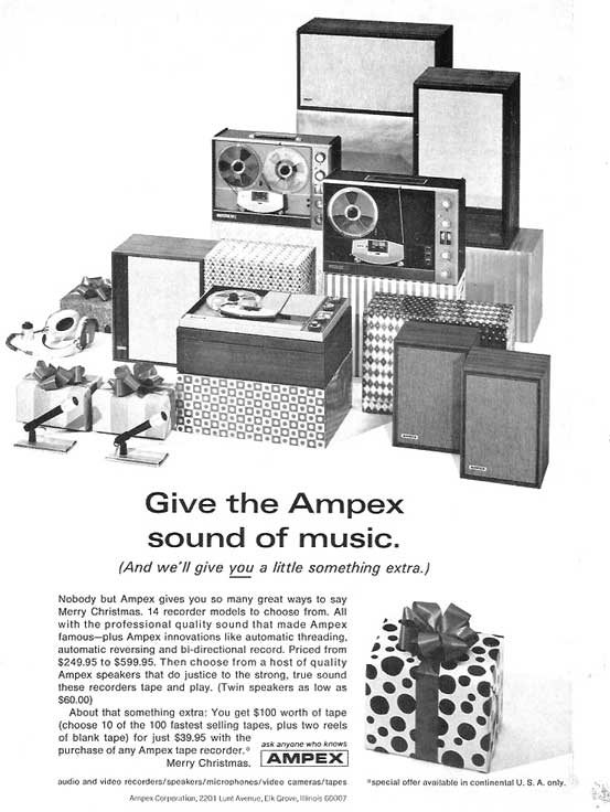 1966 ad for Ampex tape recorders in Phantom Productions' vintage reel recorder collection