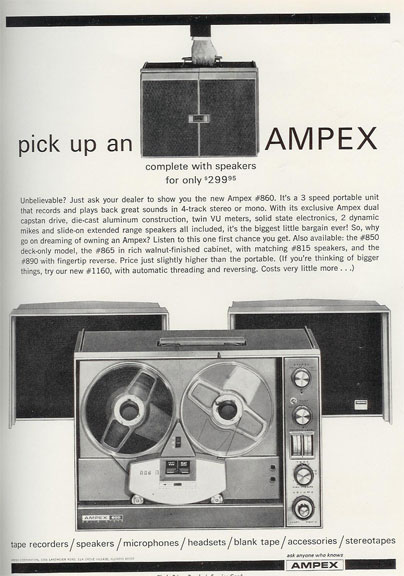 picture of 1966 Ampex ad in Reel2ReelTexas.com vintage reel to reel tape recorder collection