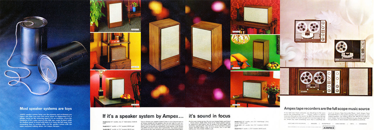 1966 Ampex ad for their speakers and reel to reel  tape recorders in Reel2ReelTexas.com's vintage recording collection