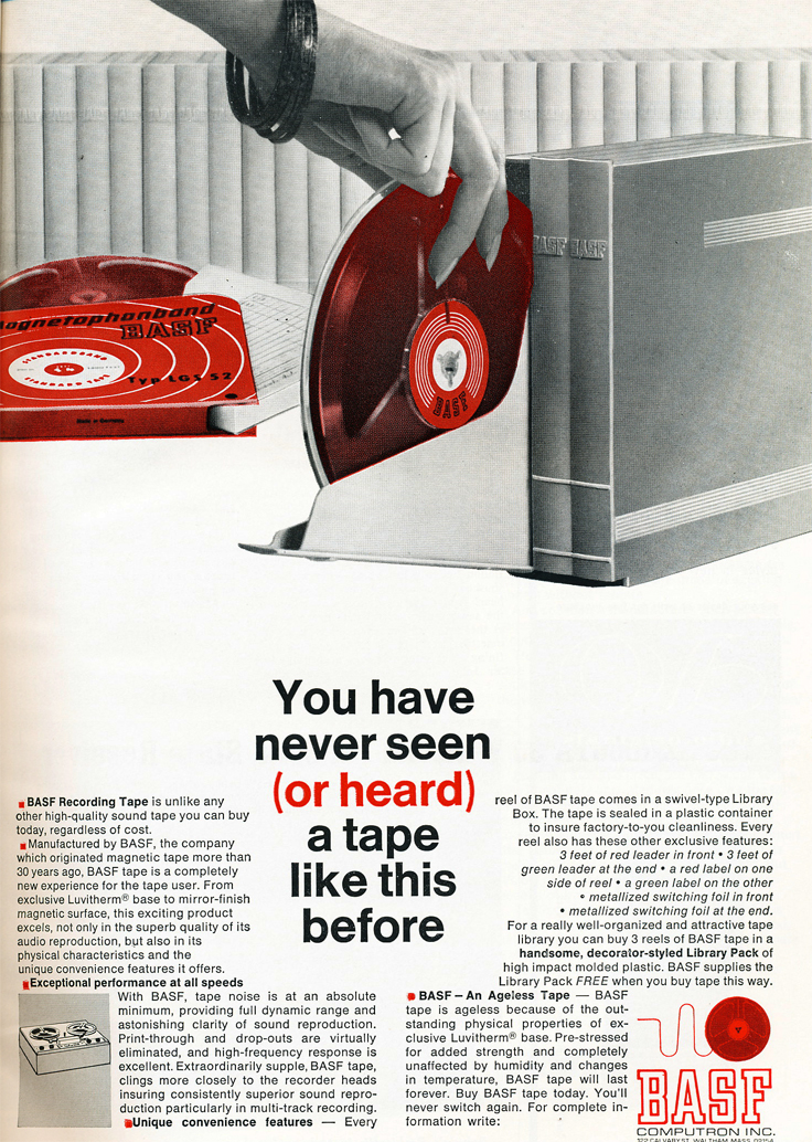 1966 ad for BASF reel to reel recording tape  in Reel2ReelTexas.com's vintage recording collection