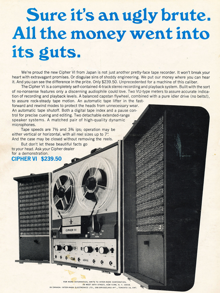 1966 ad for the Cipher reel to reel tape recorder in Reel2ReelTexas.com's vintage recording collection