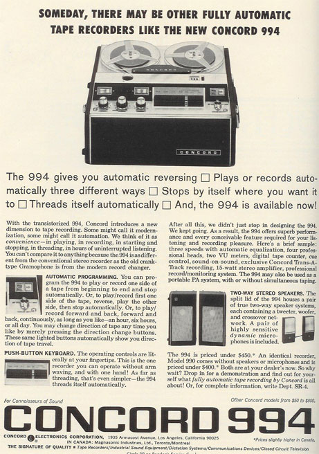 picture of 1966 Concord ad in Reel2ReelTexas.com vintage reel to reel tape recorder collection