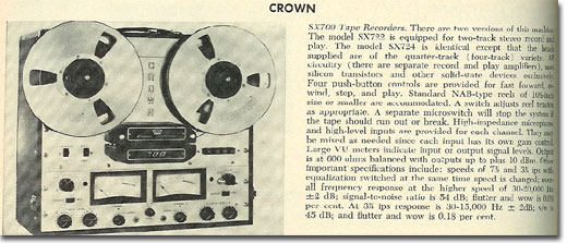 picture of 1966 Crown 722 tape recorder ad