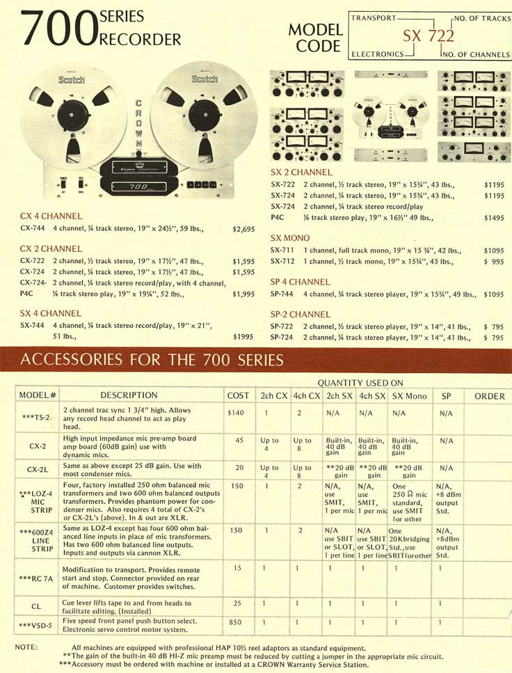 1966 equipment specs brochure for Crown professional tape recorders in Phantom Productions vintage recording collection