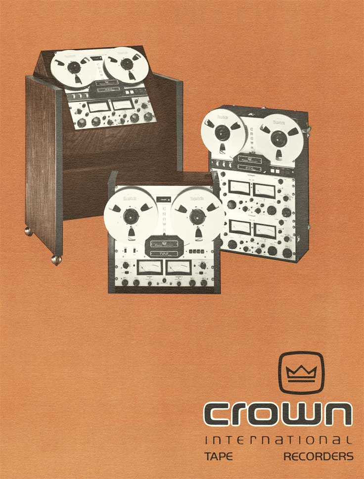 1966 cover of brochure for Crown professional tape recorders in Phantom Productions vintage recording collection