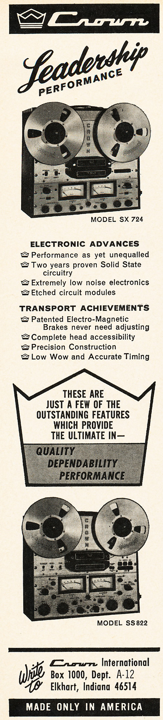 1966 ad for the Crown SX724 professional tape recorders in Phantom Productions vintage recording collection