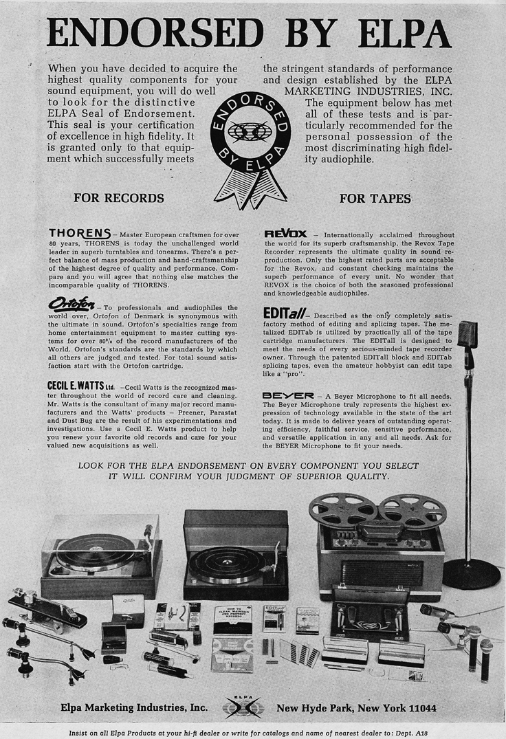 1966 ad for Revox tape recorders and other professional equipment sold by ELPA  in Phantom Productions' vintage reel recorder collection