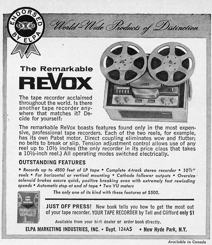 1966 ad for Revox tape recorders in Phantom Productions' vintage reel recorder collection