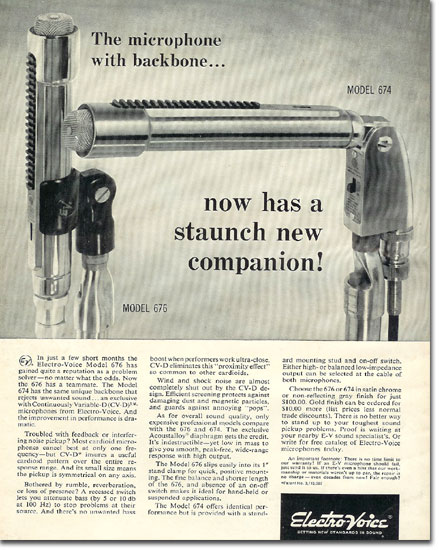 picture of 1966 Electro Voice 676 microphone ad