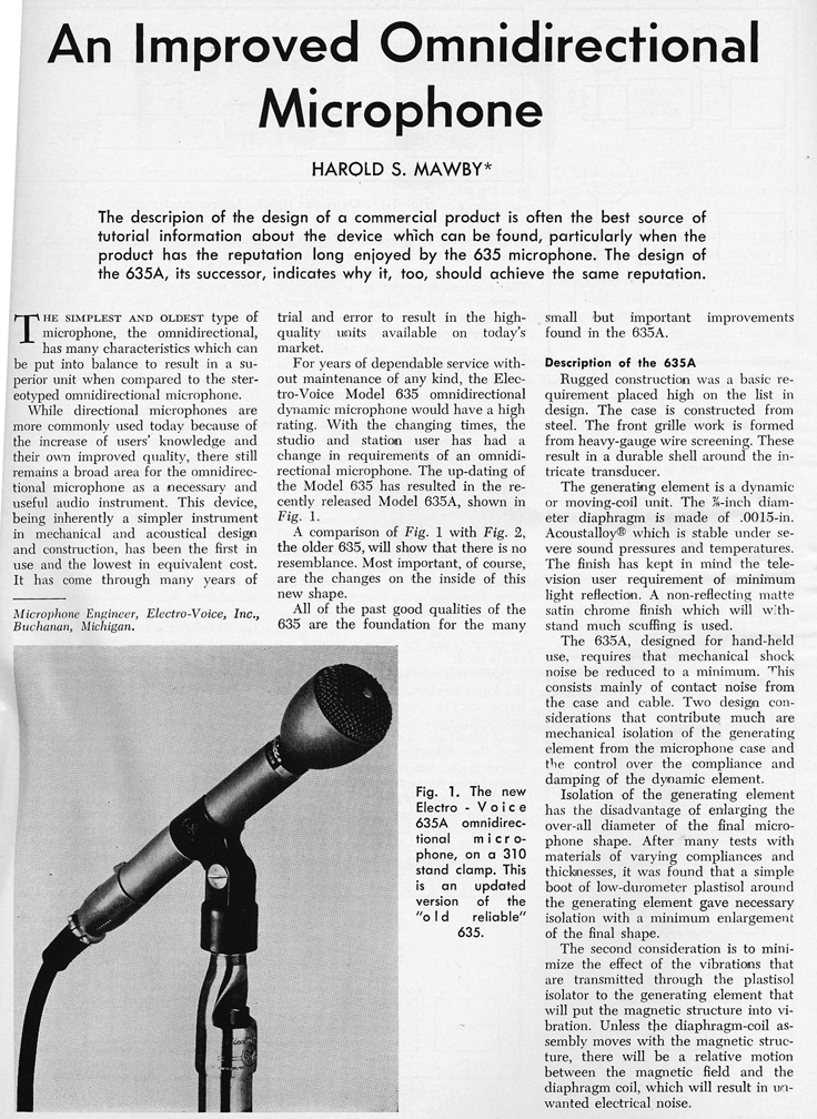 1966 review of the Electro Voice 635 microphone  in Reel2ReelTexas.com's vintage recording collection