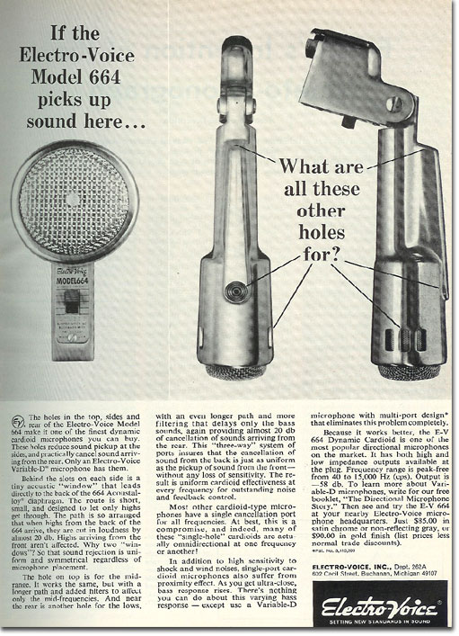 picture of 1966 Electro Voice 664 microphone ad