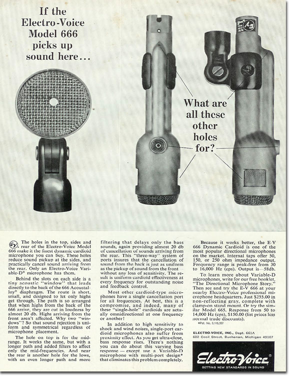 picture of 1966 Electro Voice 666 microphone ad