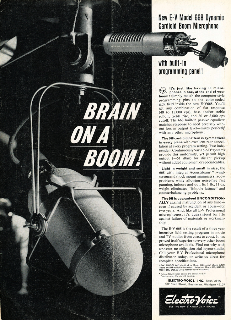 1966 ad for the Electro Voice 668 microphone in Reel2ReelTexas.com's vintage recording collection