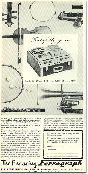 picture of 1966 Ferrograph tape recorder ad