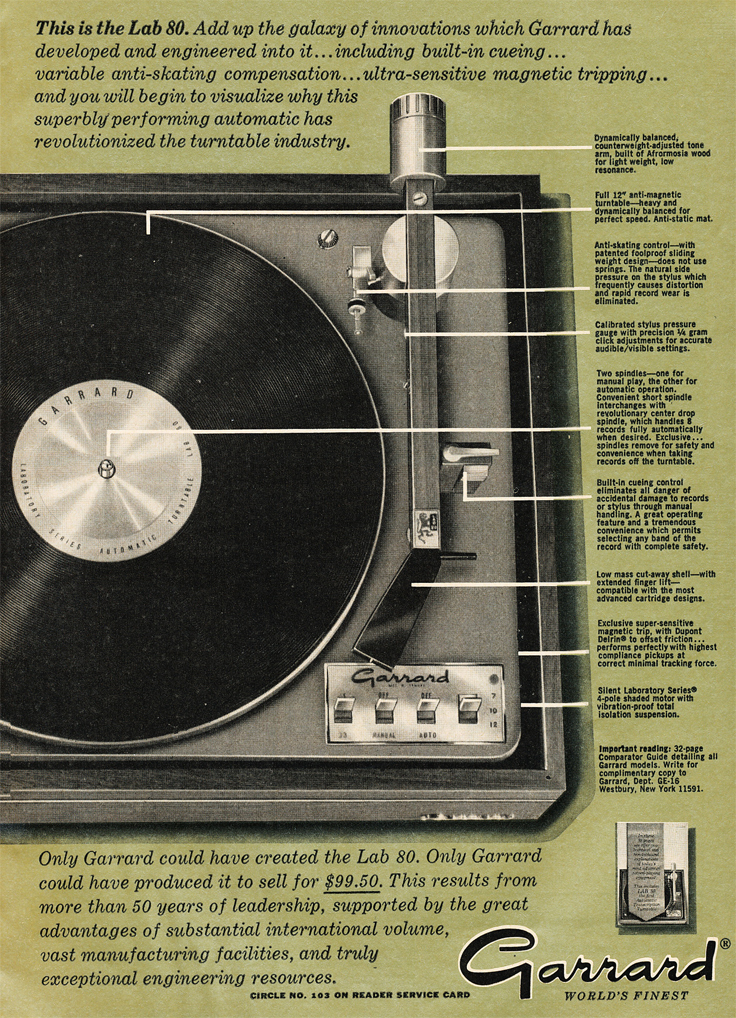 1966 ad for the Garrard Lab 80 turntable which is in the PPI collection in Reel2ReelTexas.com's vintage recording collection