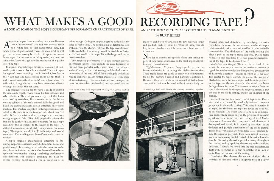 1966 article on what makes a good reel to reel recording tape