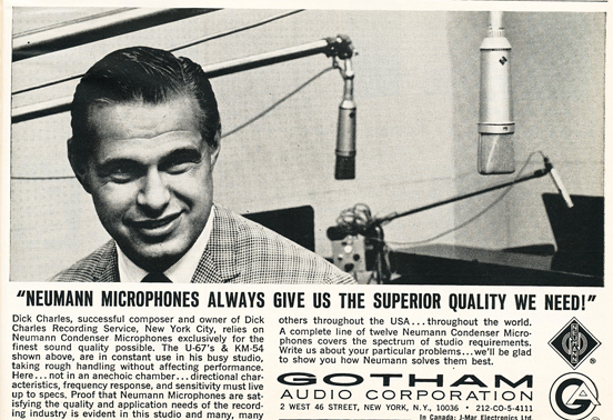 1966 ad for Gotham Audio featuring Neumann microphones in Reel2ReelTexas.com's vintage recording collection