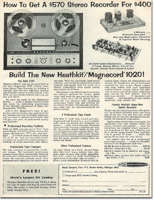 1966 HeathKit/Magnecord reel tape recorder kit ad in Reel2ReelTexas.com's vintage recording collection