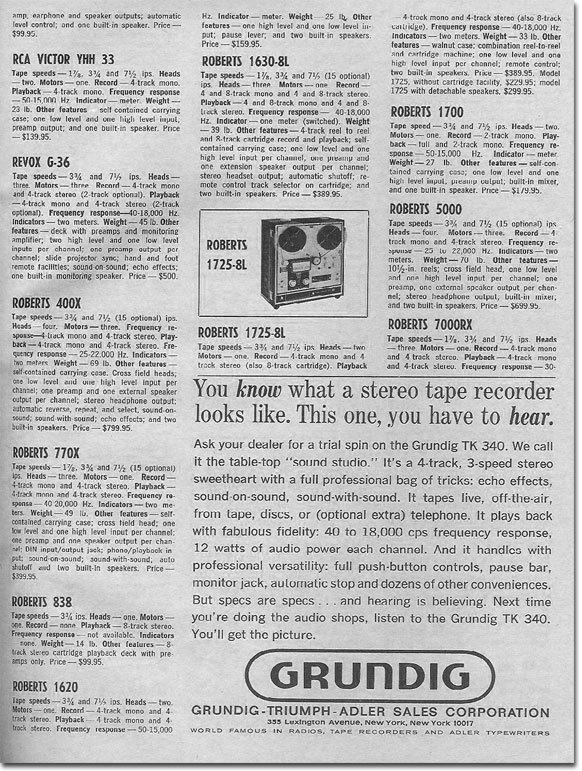 picture of 1966 HiFi Tape Directory page