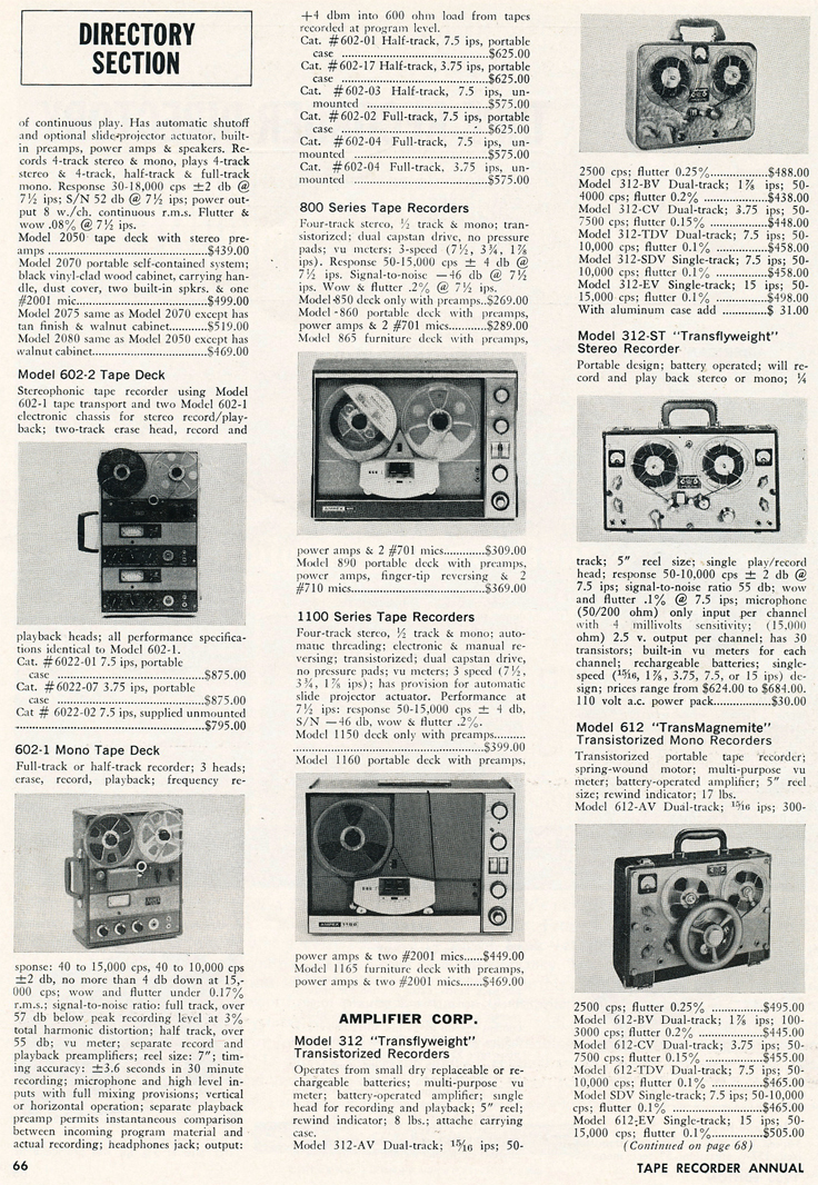 1966 Tape Recorder Directory in Reel2ReelTexas.com vintage reel to reel tape recorder collection