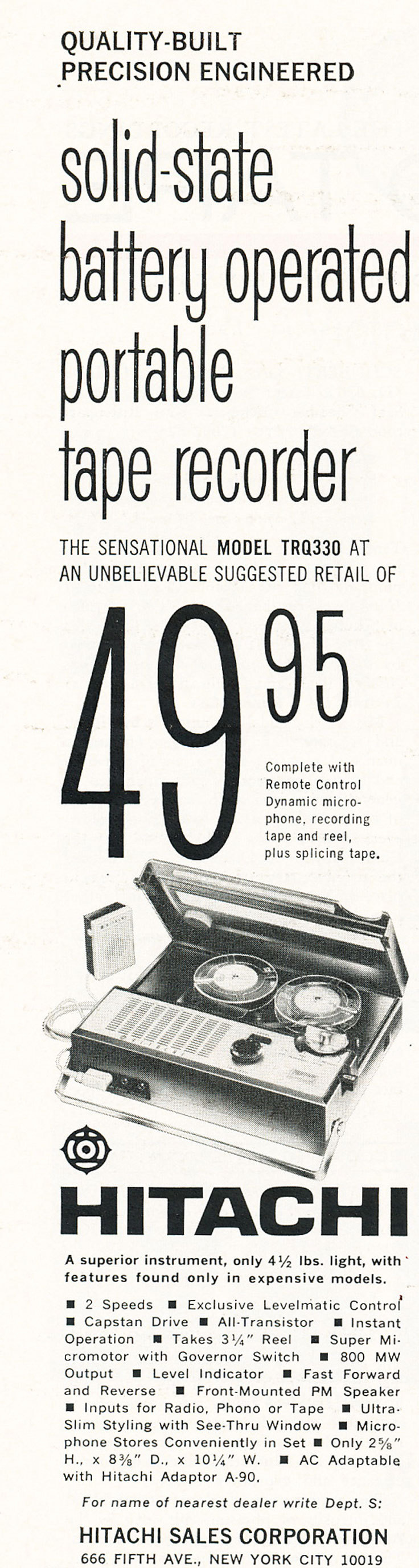 1966 ad for Hitachi reel tape recorders in Reel2ReelTexas.com's vintage recording collection