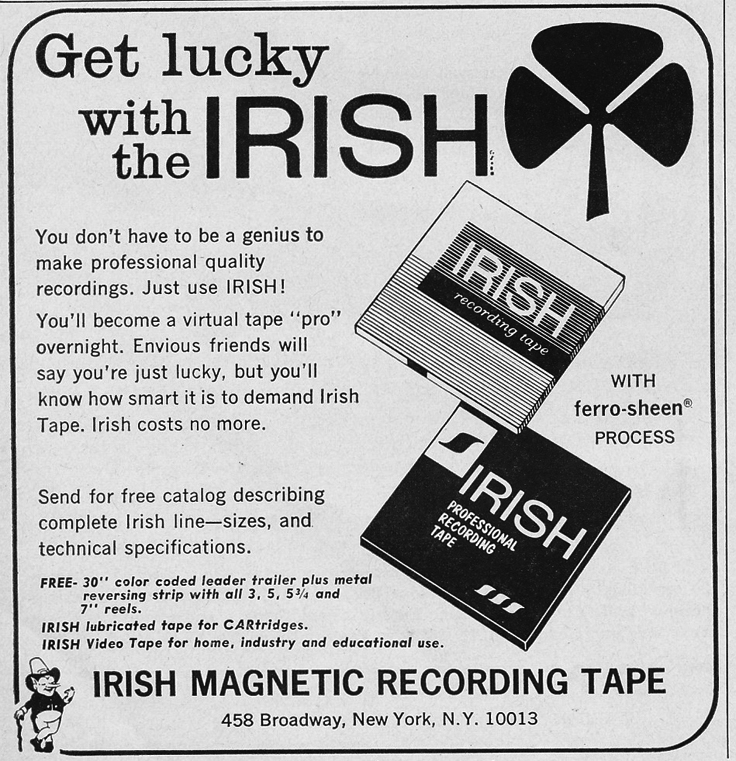 1966 ad for Irish reel recording tape in Phantom Productions' vintage reel recorder collection
