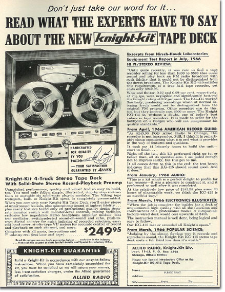 picture of 1966 Knightkit tape recorder ad