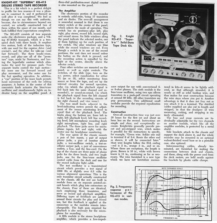 1966 review of the KnightKit KG415 tape recorder in Phantom Productions' vintage reel recorder collection
