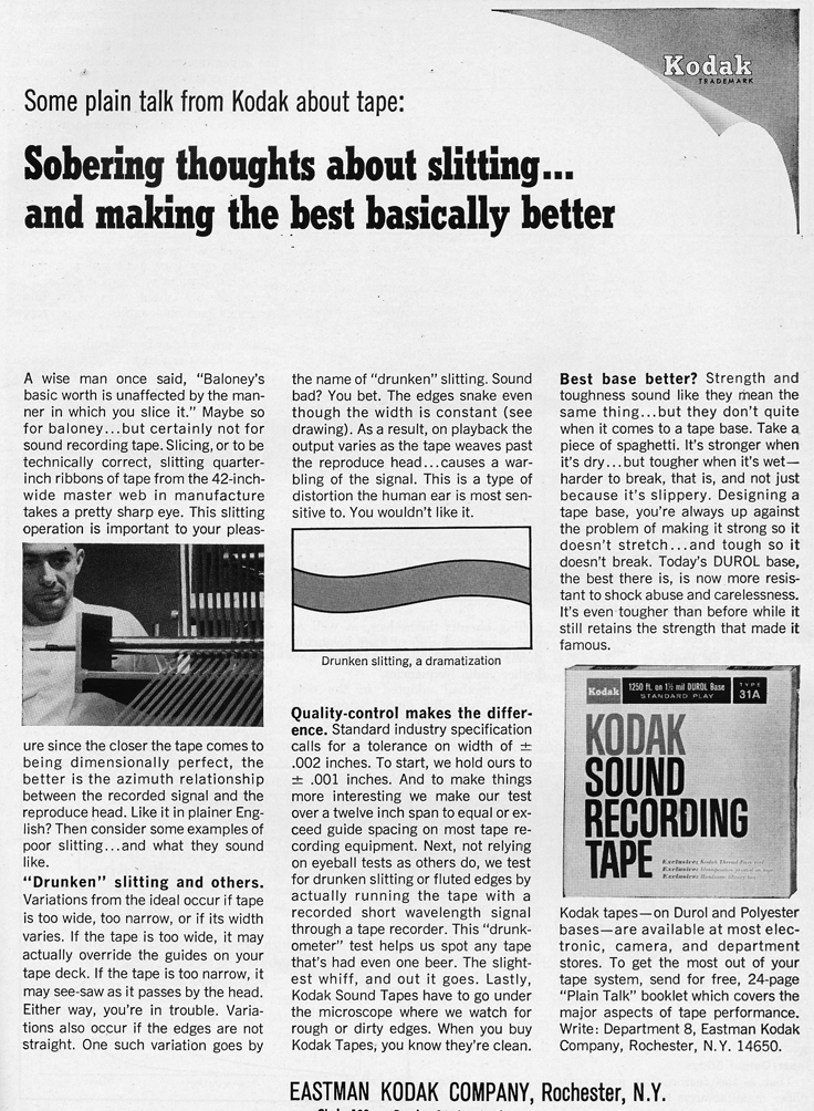 1966 ad for Kodak recording tape in Phantom Productions' vintage reel recorder collection
