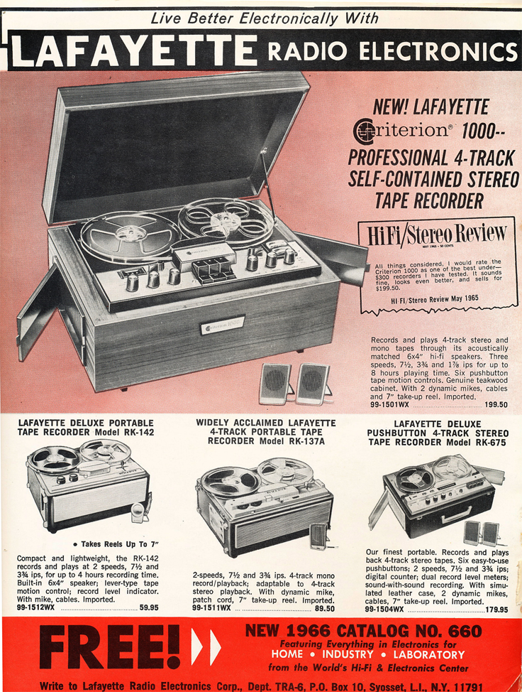 1966 ad for the Lafayette 1000 reel to reel tape recorder in Phantom Productions' vintage reel recorder collection
