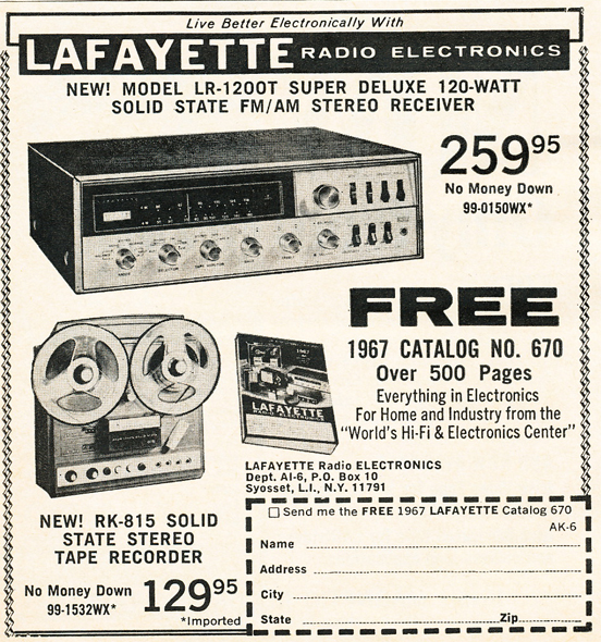 1966 ad for the Lafayette Radio catalog in Phantom Productions' vintage reel recorder collection