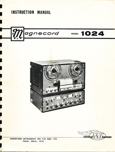 1966 service manual cover for the Magnecord 1024 reel tape recorder in Reel2ReelTexas.com vintage reel to reel tape recorder collection