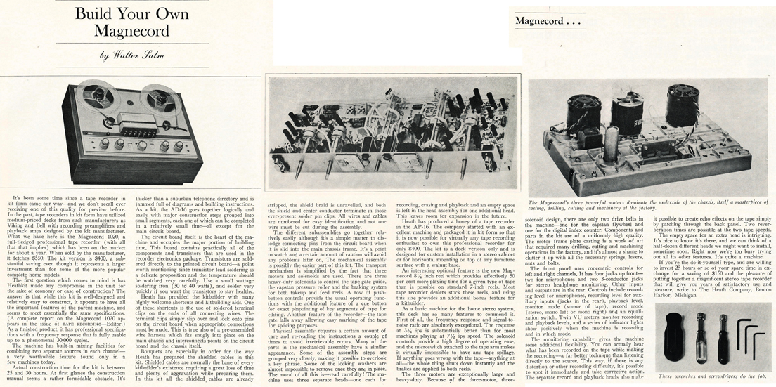 1966 review of magnecord's kit reel tape recorder in Phantom Productions' vintage reel recorder collection