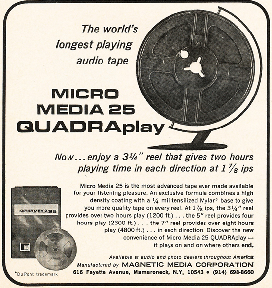 1966 ad for Magnetic Media Corporation's reel recording tape in Phantom Productions' vintage reel recorder collection