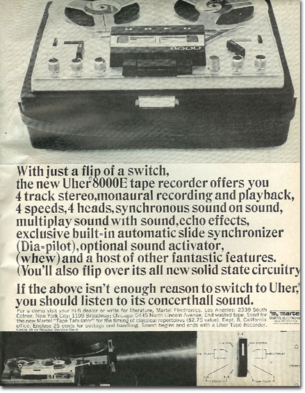 picture of 1966 Martel Uher tape recorder ad