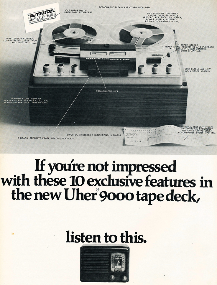 1966 ad for the Martel line of reel to reel tape recorders built by Uher  in Reel2ReelTexas.com's vintage recording collection