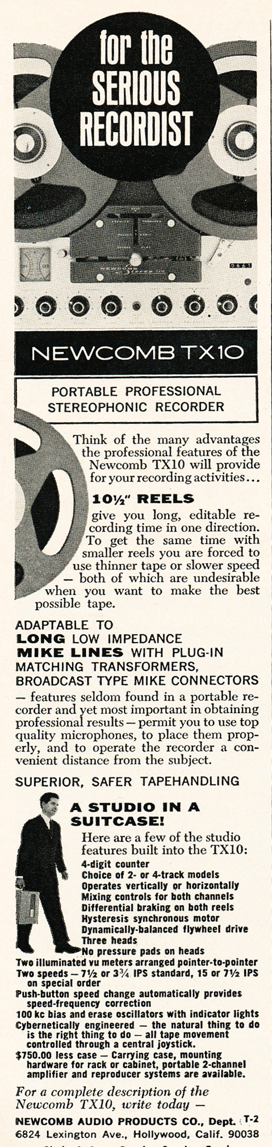 1966 ad for Newcomb reel to reel tape recorders  in Reel2ReelTexas.com's vintage recording collection
