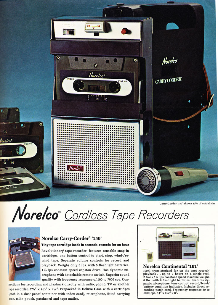 1966 ad for the Norelco 101 reel to reel tape recorders  in Phantom Productions' vintage reel recorder collection
