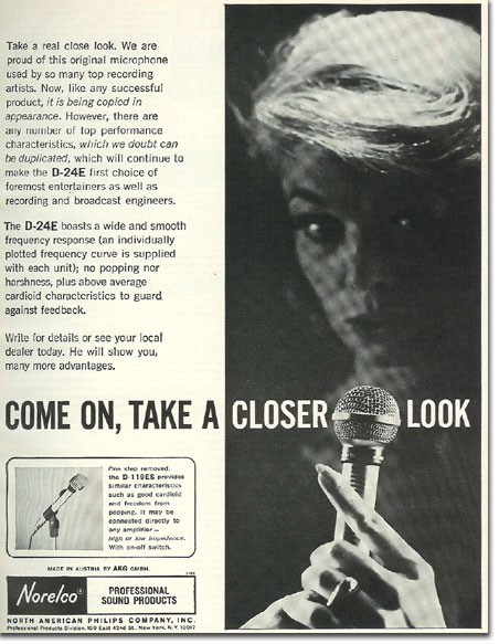 picture of 1966 Norelco microphone ad